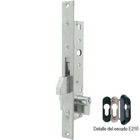Cerradura Tesa 2211 25mm perfil metálico monopunto basculante inoxidable