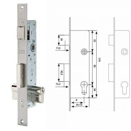 Cerradura deslizante Tesa 2210E 25 ancho de caja 15mm acero inoxidable