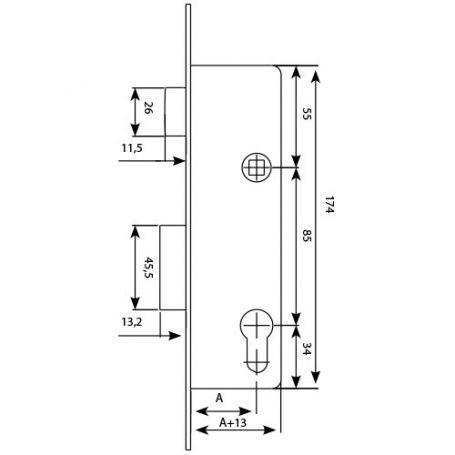 Cerradura Tesa 2210 28 SSI 20mm palanca deslizante sin cerradero ni escudo inoxidable