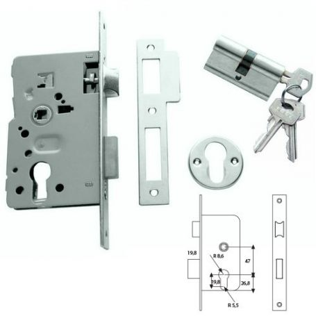 Cerradura embutir Tesa 2010-P HN 40mm niquelado puertas de madera