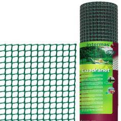Malla plastico cuadrada cuadranet 12 verde 1x25m 11x11mm Intermas