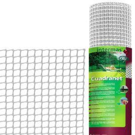 Malla plastico cuadrada cuadranet 12 blanca 1x25m 11x11mm Intermas