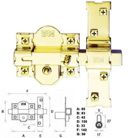 Cerrojo 301 r 80 70mm dorado fac comprar al mejor precio - Precio cerrojo fac ...
