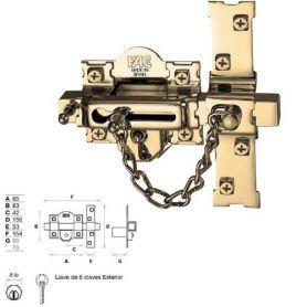 CERROJO 307-RP/80 BOMBILLO 50MM IZQUIERDA DORADO FAC