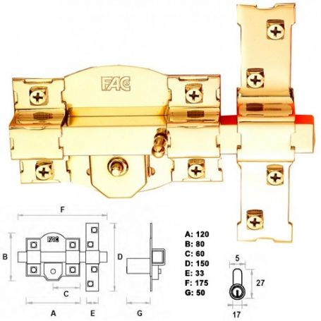 CERROJO 301-R/120 50MM DORADO FAC