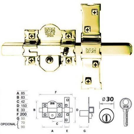 Cerrojo 301 rp 80 puerta blindada dorado fac comprar al - Precio cerrojo fac ...