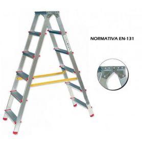 Escalera tijera de aluminio 5 peldaños a 2 caras modelo duplo ferral