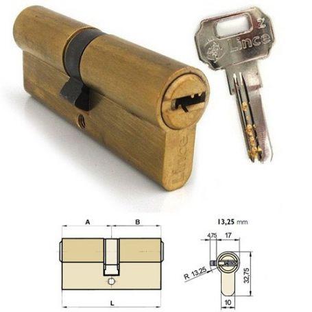 Cilindro doble de seguridad C2 64mm (32x32mm) Latonado Lince