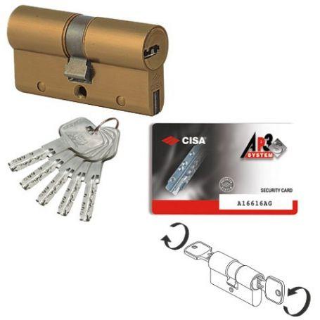 Cilindro AP3 S 30x50 latonado doble embrague Cisa