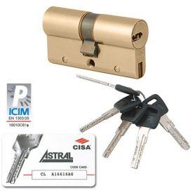 Cilindro Cisa de seguridad Astral S 30x30 Latonado
