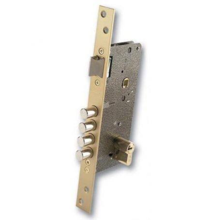 Cerradura Ezcurra de alta seguridad 700-R esmaltada oro con cilindro DS-15/70