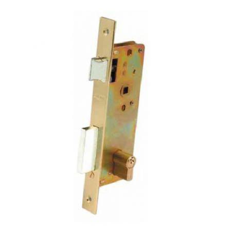 Cerradura de embutir Ezcurra con Cilindro 4000 entrada de 40mm latonado