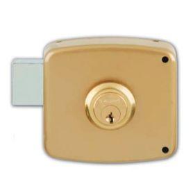 Cerradura de sobreponer Ezcurra 1124 80mm pintado oro izquierda