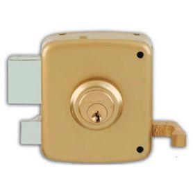 Cerradura de sobreponer Ezcurra 1125 80mm izquierda pintado oro