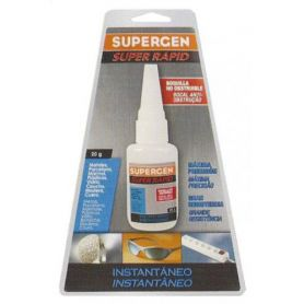Adhesivo instantaneo Supergen transparente cianocrilato super rapido 6g + 2g gratis