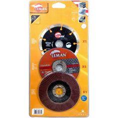 Pack discos Leman amoladora 115mm corte hormigon corte inox lijado metal
