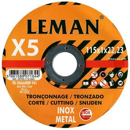 Lote de 5 discos corte inox 115