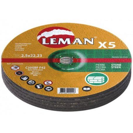 Lote 5 discos de corte piedra Leman 115 Gama Naranja