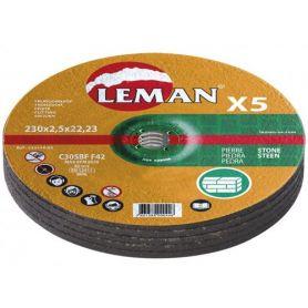 Lote 5 discos de corte piedra Leman 230 Gama Naranja