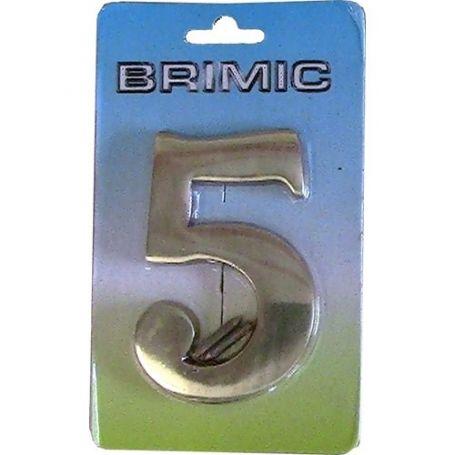 Numero para puerta Nº 5 latón pulido 100mm Micel
