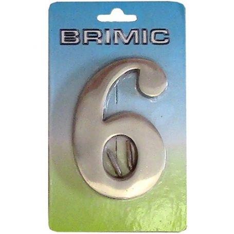 Numero para puerta Nº 6 - 9 latón pulido 100mm Micel