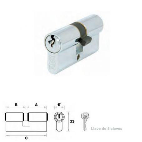 Cilindro de perfil europeo 60mm níquel leva 15mm FAC