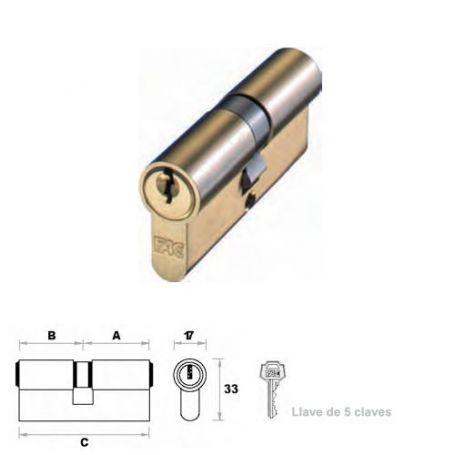 Cilindro de perfil europeo 70mm latón leva 15mm FAC