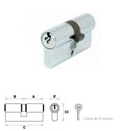 Cilindro de perfil europeo 80mm 30x50mm níquel leva 15mm FAC