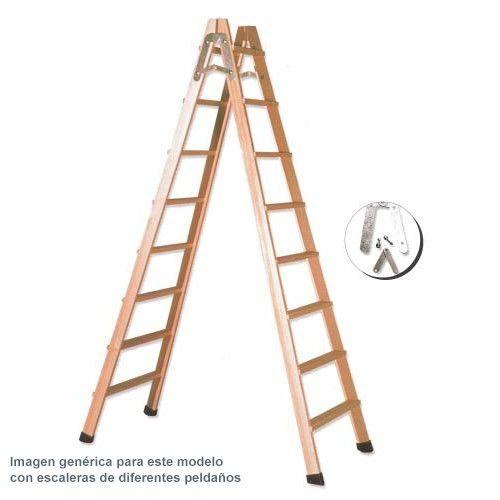 Escalera de tijera en madera 5 pelda os ferral comprar al for Escaleras 10 peldanos de tijera