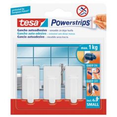 Tesa Powerstrips gancho colgador plastico clasico blanco con adhesivo Tesa