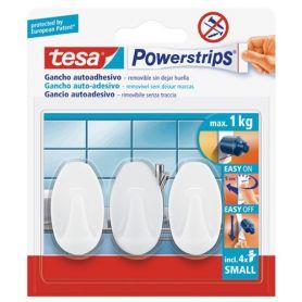 Tesa Powerstrips gancho ovalado blanco con adhesivo Tesa