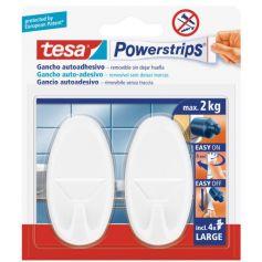 Tesa powerstrips gancho clasico grande ovalado blanco con adhesivo