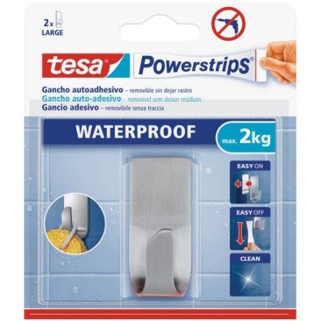 Tesa powerstrips gancho acero inoxidable con adhesivo