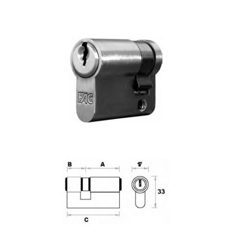 Medio cilindro 70mm 60x10 Niquel satinado Fac