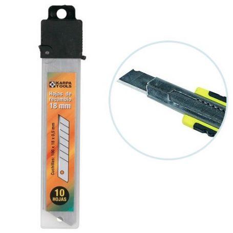 Recambio cortador hoja 18 mm estuche 10 unidades Karpatools