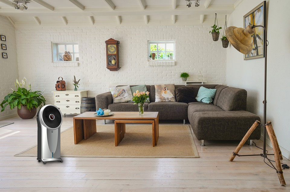 Climatizador evaporativo en el hogar