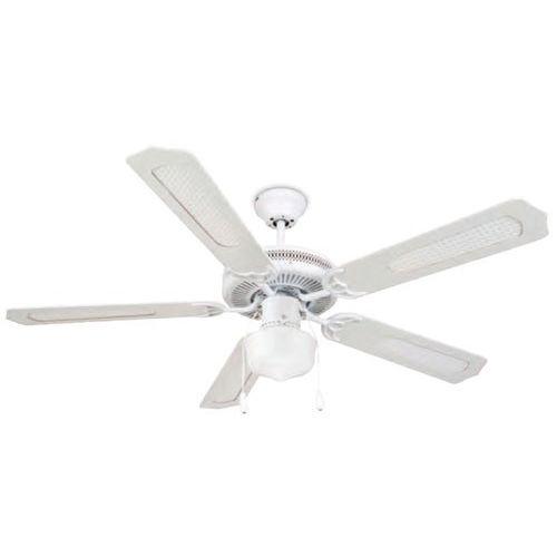 Ventilateur de plafond blanc 5 lames en bois garsaco for Plafond en bois blanc