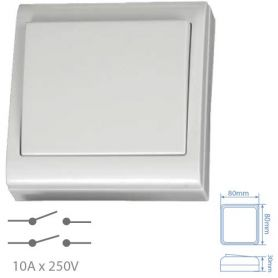Bipolare interruttore 10A 250V 80x80mm superficie bianca GSC Evolution