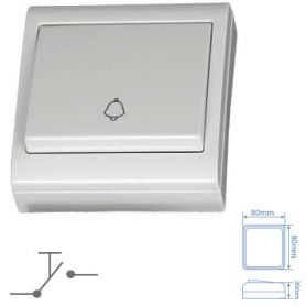 Bianco tasto campanello 80x80mm 10A 250V superficie GSC Evolution