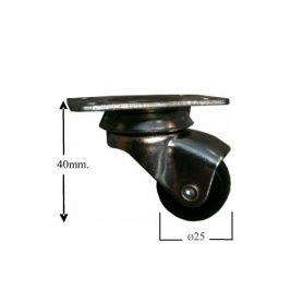 Ruota con piastra nera Ø25mm Cufesan