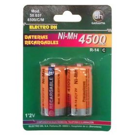 batterie ricaricabili Ni-MH 4500 mAh. R-14 / C (2 unità) DH