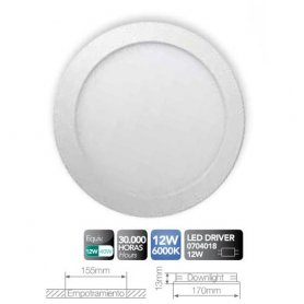 12W LED Downlight bianco 6000k GSC Evolution