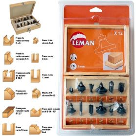 Set di 12 case in legno fragole albero 8mm assortiti Leman