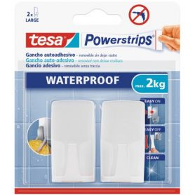 Tesa gancio Powerstrips plastica bianca con adesivo