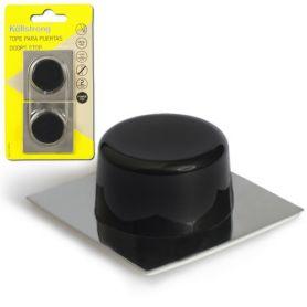 Porta in acciaio inox stopper basa adesivo nero Kallstrong