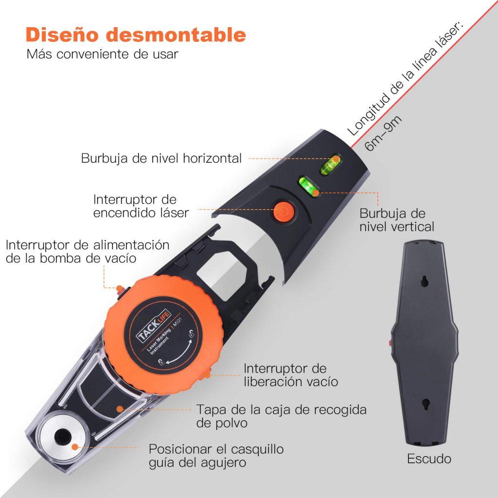 el nivel electronico laser tacklife MI01 tiene un diseño desmontable que le permite actuar como 2 herramientas a la vez, esa ventaja frente a las demás herramientas de su estilo la hacen ideal para comprarla ya