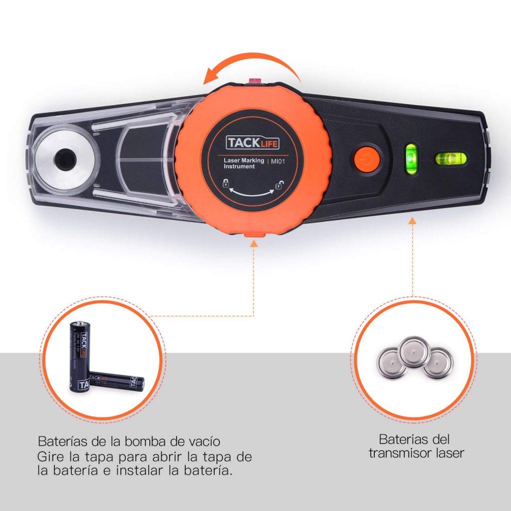 nivel tacklife laser tiene características especiales como la bomba de vacío para fijar en superficies lisas y la caja de polvo