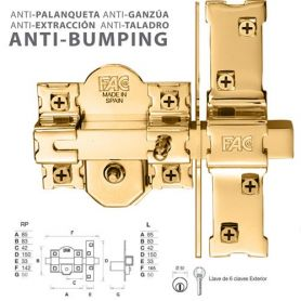 Fac prijs nachtslot antibumping 946-rp / 80 goudprijs vee