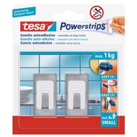 Tesa Powerstrips rechthoekige roestvrij stalen haak kleine lijm
