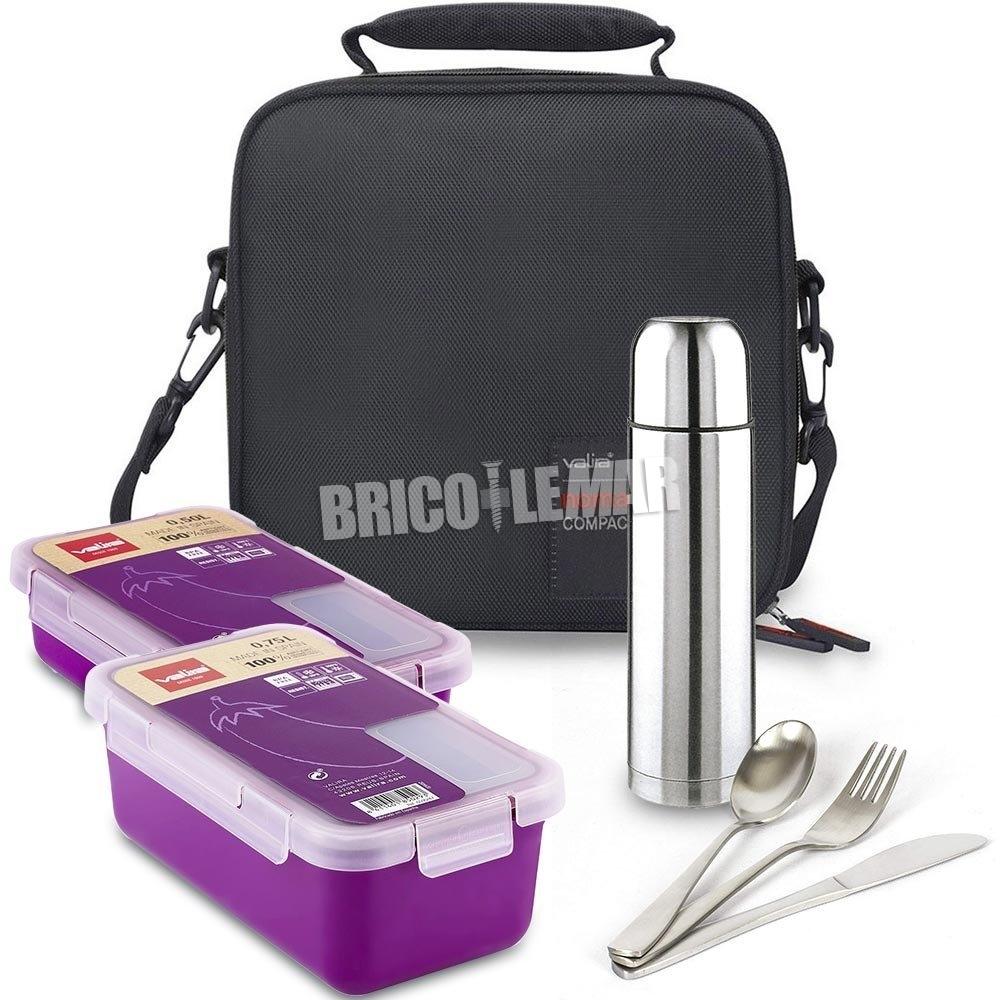 Kit de suporte do saco 2 de alimentos roxo compactos mais recipientes, cobertos Valira e termo IMF Kabra